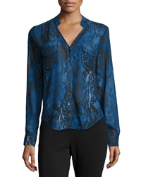 Joan Vass Graphic Print Chiffon Blouse Blue