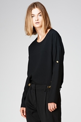 Anthony Vaccarello Button Sleeve Top Black