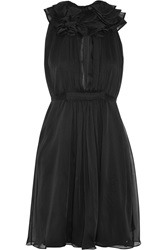 Matthew Williamson Ruffled Silk Chiffon Dress Black