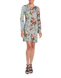 Highline Collective Keyhole Back Bell Sleeved Dress Floral Blue