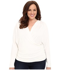 Kiyonna Femme Faux Wrap Top Magnolia Women's Long Sleeve Pullover Bone