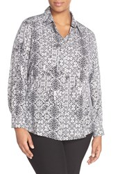 Plus Size Women's Foxcroft 'Wrought Iron' Print Tencel Shirt