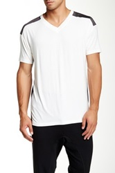 Quinn Cashmere Barkley Mixed Media Short Sleeve Tee Multi