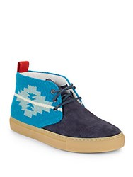 Del Toro Printed Two Tone Suede Chukka Boots Navy