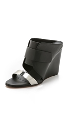 Vince Karima 2 Wedge Mules Pewter Black