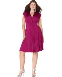 Soprano Trendy Plus Size Cap Sleeve Pleated Empire Dress Berry