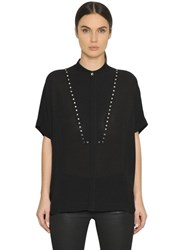 Diesel Black Gold Studded Viscose Silk Crepe Shirt