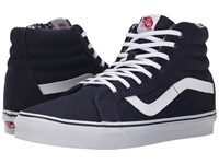 Vans Sk8 Hi Reissue Twill And Gingham Dress Blues True White Skate Shoes Navy