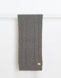 Selected Cable Knit Scarf Grey
