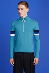 J.W.Anderson Turtleneck Zip Sweater Turquoise