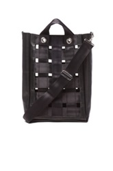 Comme Des Garcons Shirt Woven Nylon Leather Tote In Black