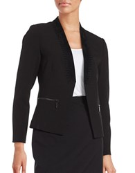 Ivanka Trump Faux Suede Trimmed Lace Up Blazer Black