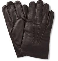 Dents Haftebury Touchcreen Cahmere Lined Leather Glove Dark Brown