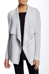 Chaus Long Sleeve Cable Knit Marled Cardigan Gray