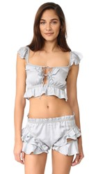 For Love And Lemons Soliana Ruffle Top Powder Blue