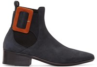 Wooyoungmi Navy Suede Buckle Chelsea Boots