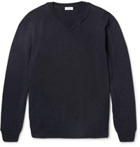 Sunspel Merino Wool And Cotton Blend Sweater Navy