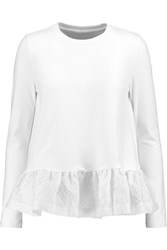 Mother Of Pearl Rivoli Jacquard Paneled Brushed Cotton Peplum Top White