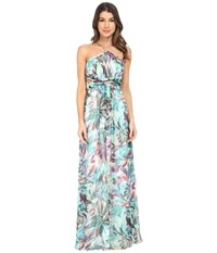 Aidan Mattox Printed Chiffon Long Halter Gown With Side Cut Outs Turquoise Multi Women's Dress