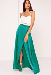 Missguided Satin Split Side Maxi Skirt Turquoise Turquoise