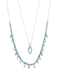 Lonna And Lilly Cubic Zirconia Imitation Rhodium Plated Two In One Pendant Necklace Blue