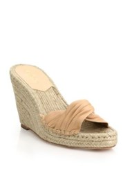 Loeffler Randall Blanche Twisted Leather Espadrille Wedge Slide Sandals Black Wheat