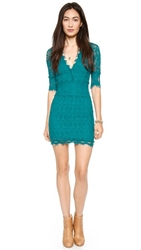 Nightcap Clothing Florence Lace Deep V Dress With 3 4 Sleeves Peacock