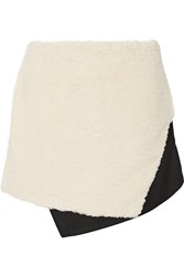 Opening Ceremony Faux Shearling And Twill Mini Skirt White