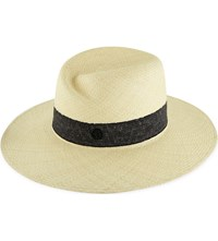 Maison Michel Virginie Panama Straw Hat Natural Navy