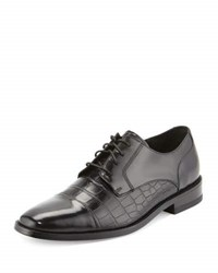 Cole Haan Giraldo Ii Crocodile Embossed Cap Toe Oxford Black