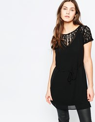 Vila Short Sleeve Tunic With Lace Detail Black