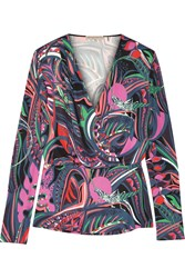 Emilio Pucci Wrap Effect Printed Stretch Jersey Top