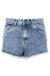 Quiz Frayed Hem Denim Shorts Blue
