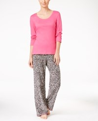 By Jennifer Moore Knit Top And Printed Fleece Pants Pajama Set Only At Macy's Pink Leopard