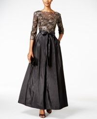 Alex Evenings Embellished A Line Gown Black Gold