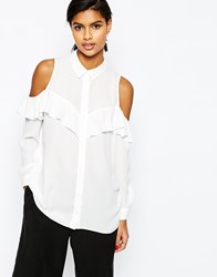 Asos Cold Shoulder Blouse With Ruffle Ivory White