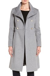 Eliza J Women's Stand Collar Wool Blend Military Coat Light Grey