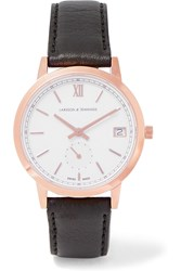 Larsson And Jennings Liten Saxon Leather And Rose Gold Plated Watch Rose Gold Black