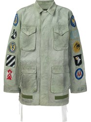 Off White Patch Sleeve Military Jacket Green