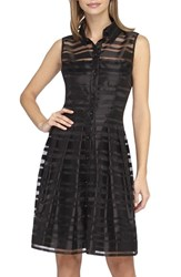 Women's Tahari Shadow Stripe Organza Fit And Flare Dress