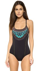 Nanette Lepore Mantra Embroidery Goddess One Piece Black