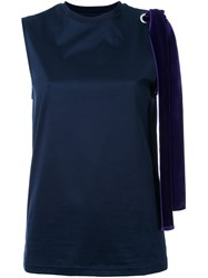 Le Ciel Bleu Sleeveless Bow Detail Blouse Blue