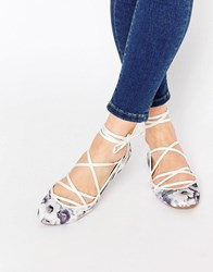 Asos Lake Lace Up Ballet Flats Grey Floral Multi