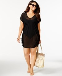Anne Cole Plus Size Mesh V Neck Cover Up Women's Swimsuit