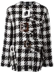Dolce And Gabbana Checked Boxy Coat Black