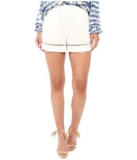 Bb Dakota Elastic Waist Pull On Shorts With Lace Trim Ivory Women's Shorts White