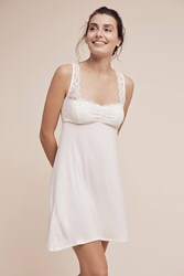 Anthropologie Fleur't Laced Chemise Ivory