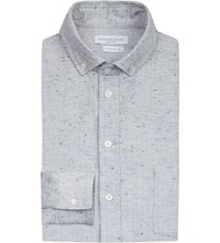 Richard James Herringbone Texture Contemporary Fit Cotton Shirt Dove