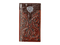 Ariat Tooled Rodeo Wallet With Gator Tab And Logo Concho Brown Wallet Handbags