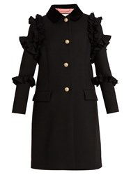 Gucci Ruffle Trimmed Single Breasted Wool Coat Black